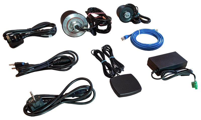 WR54 Accessory Kit Dual Cellular Contains: AC/DC Power Supply, 12Vdc; US, EU, UK Power Cords;                Ethernet Cable;                Cellular Antenna, 2x2 MIMO, with GNSS;                Cellular Antenna, 2x2 MIMO; WiFi Antenna 2x2 MIMO Image